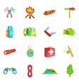 Camping icons set cartoon style vector image