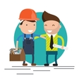characters on building worker vector image