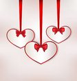 Set card heart shaped with silk bow for Valentine vector image