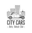 Vintage city car label design Classic auto badge vector image