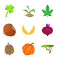 wild plants icons set cartoon style vector image