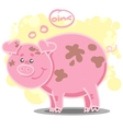 with cute cartoon pig vector image