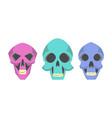 Collection cute cartoon skulls vector image