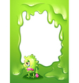 A border design with a green monster in tears vector image