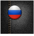 Russia Badge on Black Denim Jeans Fabric Texture vector image