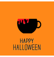 Black tea cup with red blood Happy Halloween card vector image