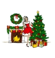 woman decorating Christmas tree vector image vector image