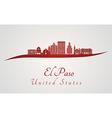 El Paso skyline in red vector image