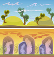Cartoon seamless landscape endless background with vector image