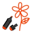 Flower and orange marker vector image