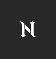 N logo letter mockup medieval design element black vector image