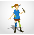Pippi longstocking with spyglass vector image