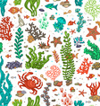 Seamless cartoon marine pattern vector image
