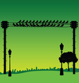 nature with sparrow and street lights vector image