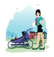 Baby in stroller vector image