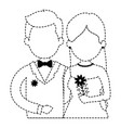 Cute couple just married with flowers bouquet vector image