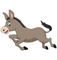 Cute donkey cartoon running vector image