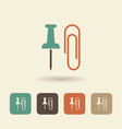 flat icon stationery paper clip and thumbtack vector image