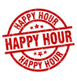 happy hour round red grunge stamp vector image
