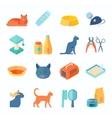 Healthy indoor cat flat icons set vector image