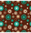 Seamless abstract floral pattern brown and blue vector image