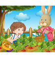 Kid and bunny picking out vegetables vector image