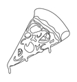 Slice of pizza icon in outline style isolated on vector image