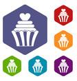 love cupcake icons set hexagon vector image