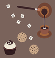 turkish coffee and cake vector image vector image