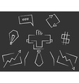 Blackboard line art business icons vector image