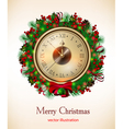 bright christmas background with clock and christm vector image vector image