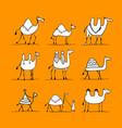 camel set sketch for your design vector image