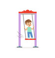 cartoon little boy standing on swing kid playing vector image