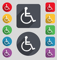 disabled icon sign A set of 12 colored buttons and vector image