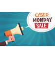 hand hold megaphone with cyber monday sale message vector image