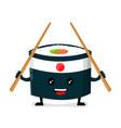 japan ninja sushi with chinese sticks vector image