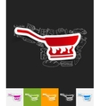 pan paper sticker with hand drawn elements vector image