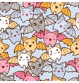 Seamless kawaii cartoon pattern with cute bats vector image