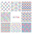 set colorful seamless patterns from smooth lines vector image
