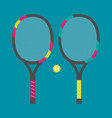 set of tennis rackets and tennis ball vector image