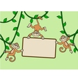 Three monkey with blank sign vector image