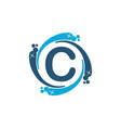 water clean service abbreviation letter c vector image