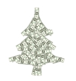 Christmas concept - pine made of banknotes of vector