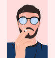 man with a beard mustache and glasses smoking vector image