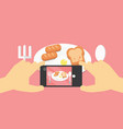 flat lay mobile food photo hands with phone vector image