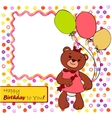 Card with bear girl vector image