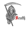 Spooky grim reaper with scythe sketch style vector image vector image