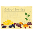 Dried fruits background vector image