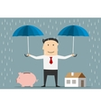 Man holds umbrellas over house and piggy bank vector image