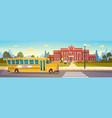 yellow bus in front of school building pupils vector image